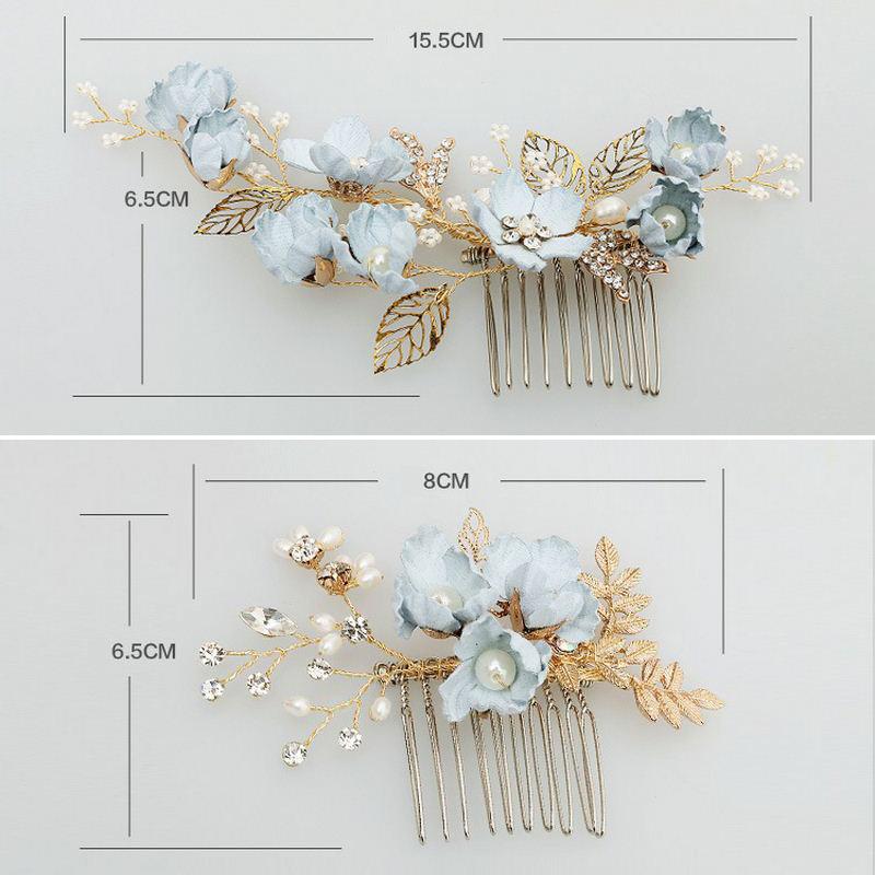 Blue Handmade Flower Wedding Hair Comb Bridal Hair Pin Rrhinestone Pearl Jewelry Hair Accessories for Girls Women Bridesmaid (8)