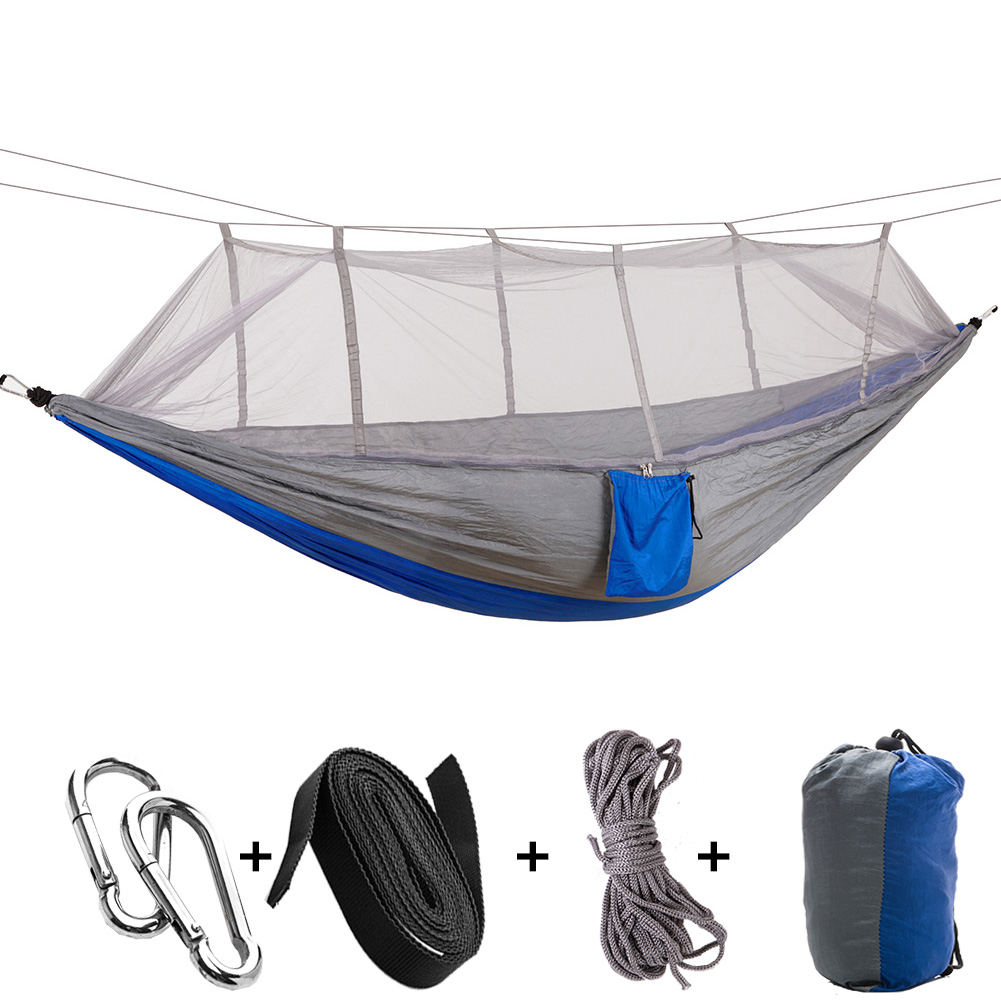 Wholesale-Multi-color Hammock Travel Camping Single Person Hammock Portable Parachute Fabric Mosquito Net Hammock for Indoor Outdoor Load-be
