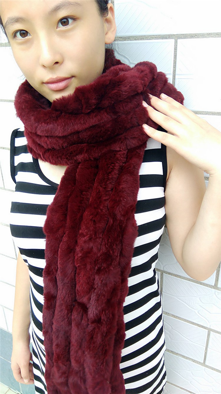 knitted rex rabbit fur scarf for women winter (28)