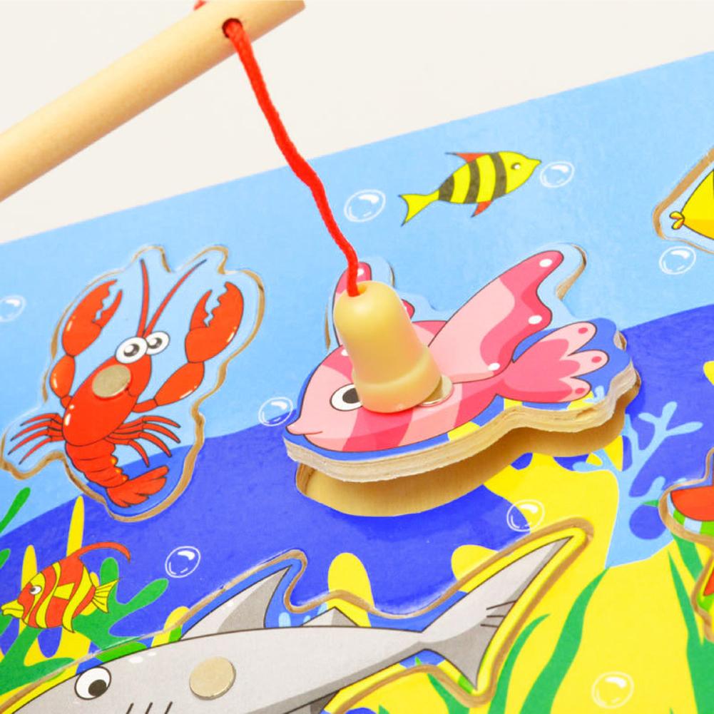 도매 목조 자기 낚시 게임 3D 퍼즐 재미 있은 아기 아이 대화 형 퍼즐 장난감