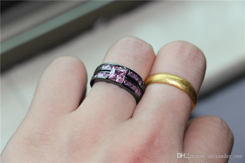 Fashion Precious Princess-cut Simulated Pink Diamond 10KT Black gold Engagement Wedding Band Ring Set for Women Size 5-10