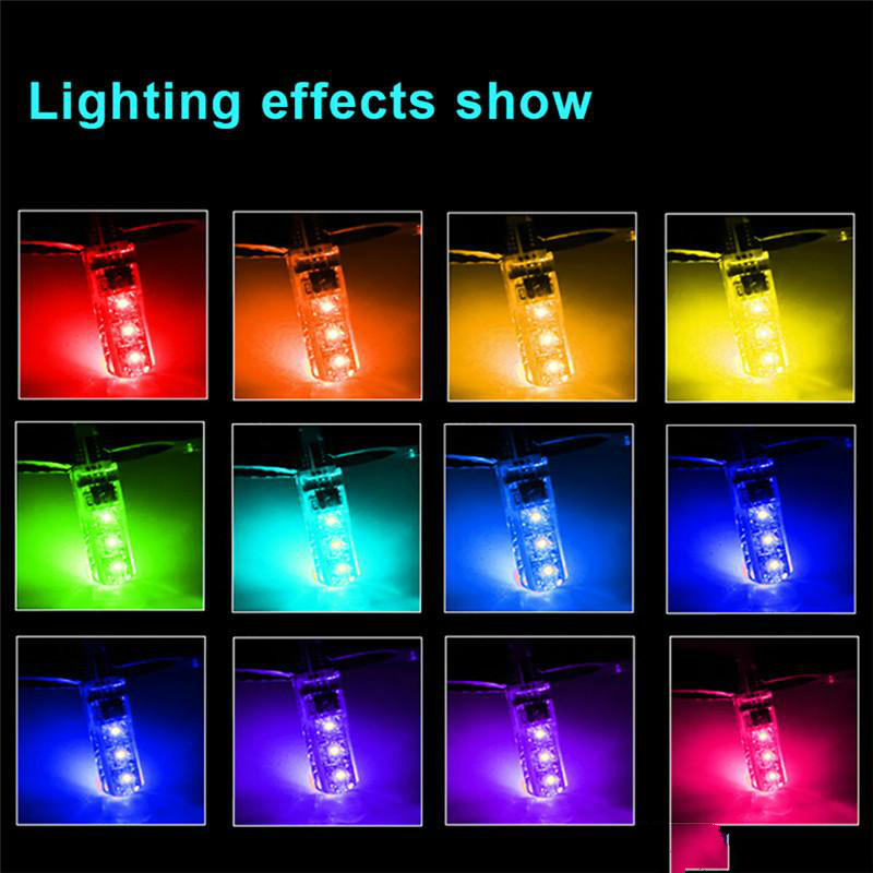 T10 W5W Led renkli Araba Gümrükleme Işıkları 5050 6 SMD RGB 194 168 Ampul Uzaktan İç Aydınlatma Kaynağı Araba Styling 12 V
