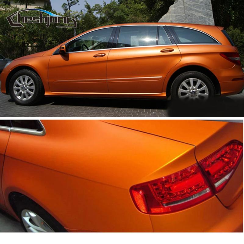 Orange-Matte-chrome-Vinyl-Film-car-sticker-03