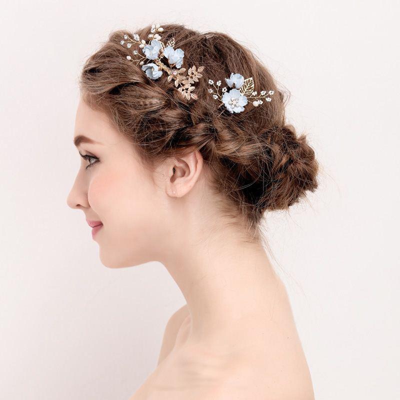 Blue Handmade Flower Wedding Hair Comb Bridal Hair Pin Rrhinestone Pearl Jewelry Hair Accessories for Girls Women Bridesmaid (2)