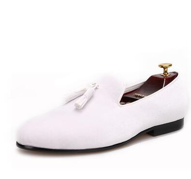 Promotion Yellow Velvet Tassel Men Dress Wedding Shoes For Events Round Toe Leather Lining US Size 7-14