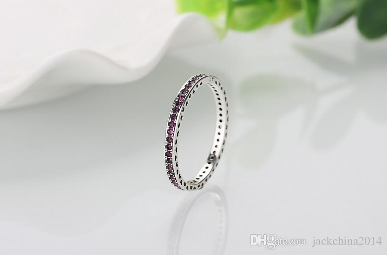 Wholesale Luxury Jewelry 925 Sterling Silver Single row drilling Ruby CZ Diamond Gemstones Wedding Women Engagement Band Ring Gift Size5-11