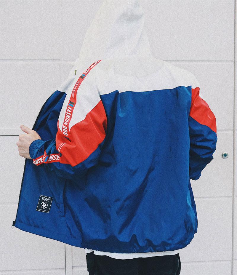Color Block Patchwork Windbreaker Hooded Jackets 3
