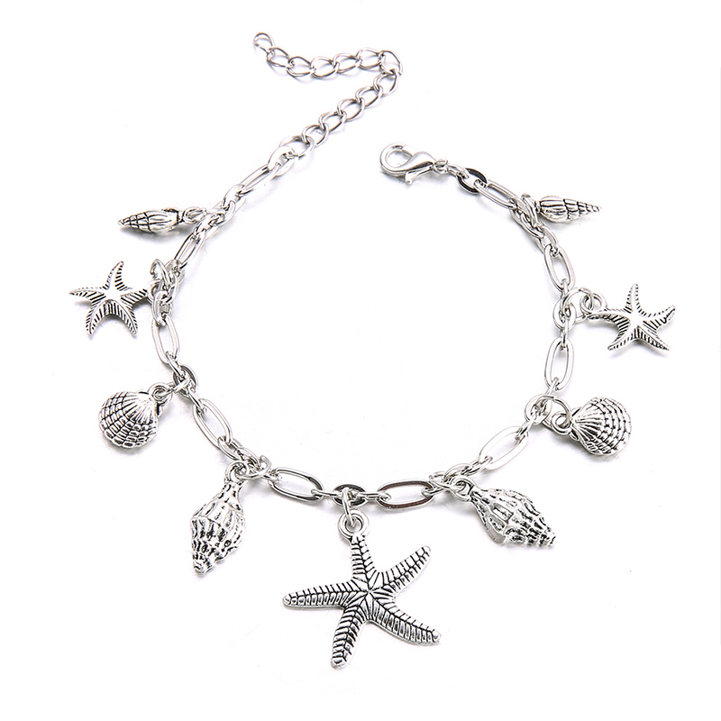 2 Styles Fashion Summer Beach Conch Shell Starfish Ocean Turtle Lips Silver Pendant Chain Anklet Women Casual Jewelry Accessorie