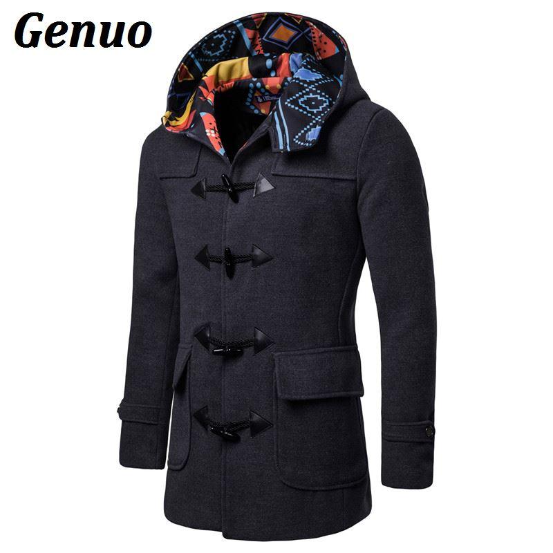 Men Winter Coat Sale Warm Plus Velvet Slim Buttons Zipper Detachable Hat Jacket Overcoat