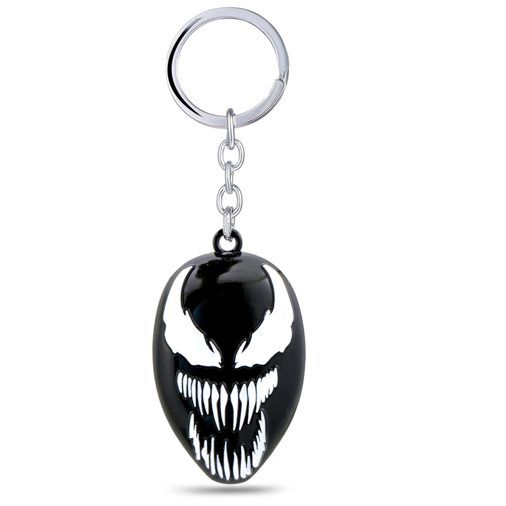 The Venom metal Key ring toy necklace spiderman keychain metal pendant black halloween xmas gift Game Accessories toys FFA982