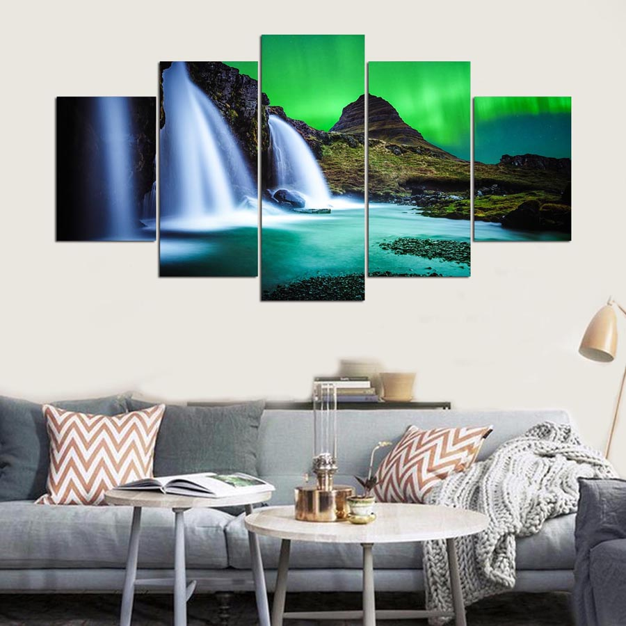 Popular Pictures Home Decoration Paintings On Canvas 5 Panel Aurora Iceland Modular Vintage Wall Artwork For Living Room HD Printed