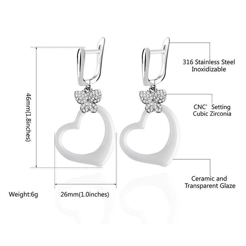 2018 Fashion Earrings Ceramic Hollow Geometry Earrings Bling Crystal Butterfly Lovely Heart Sweet Earrings for Women Gifts Jewel