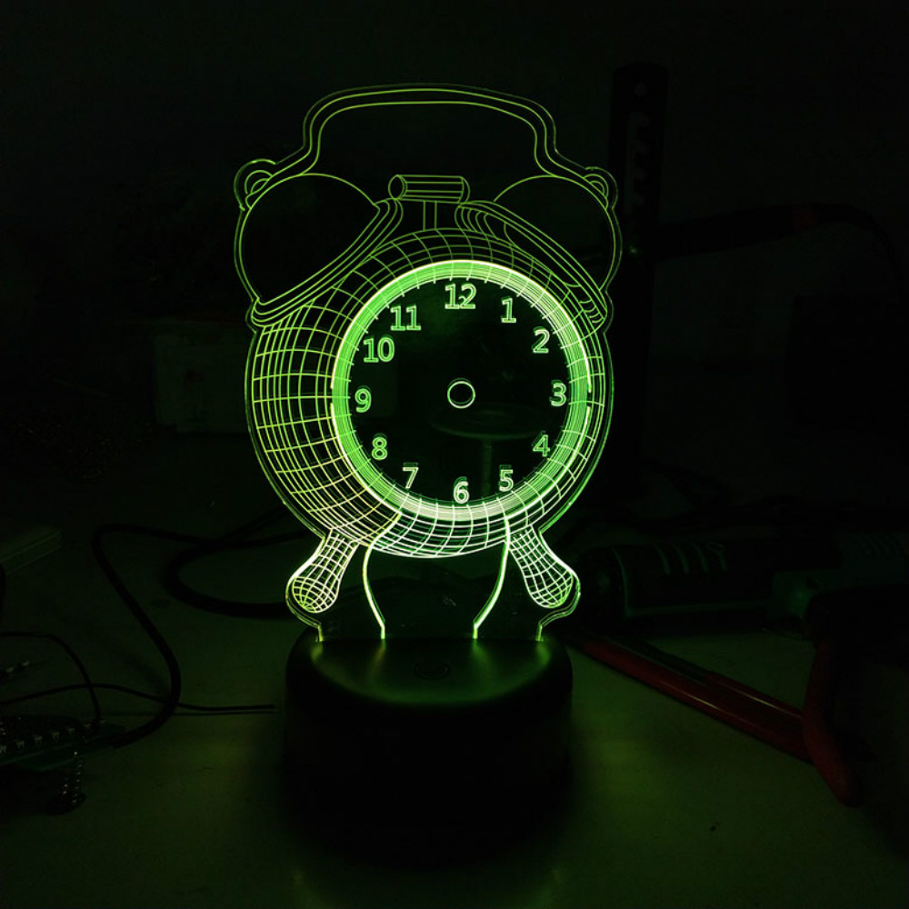 Acrylic Alarm Clock Design USB Colorful 3D Night Light LED Lamp Double Color Touch Switch Non Skip Decoration Light Wholesale Dropshipping