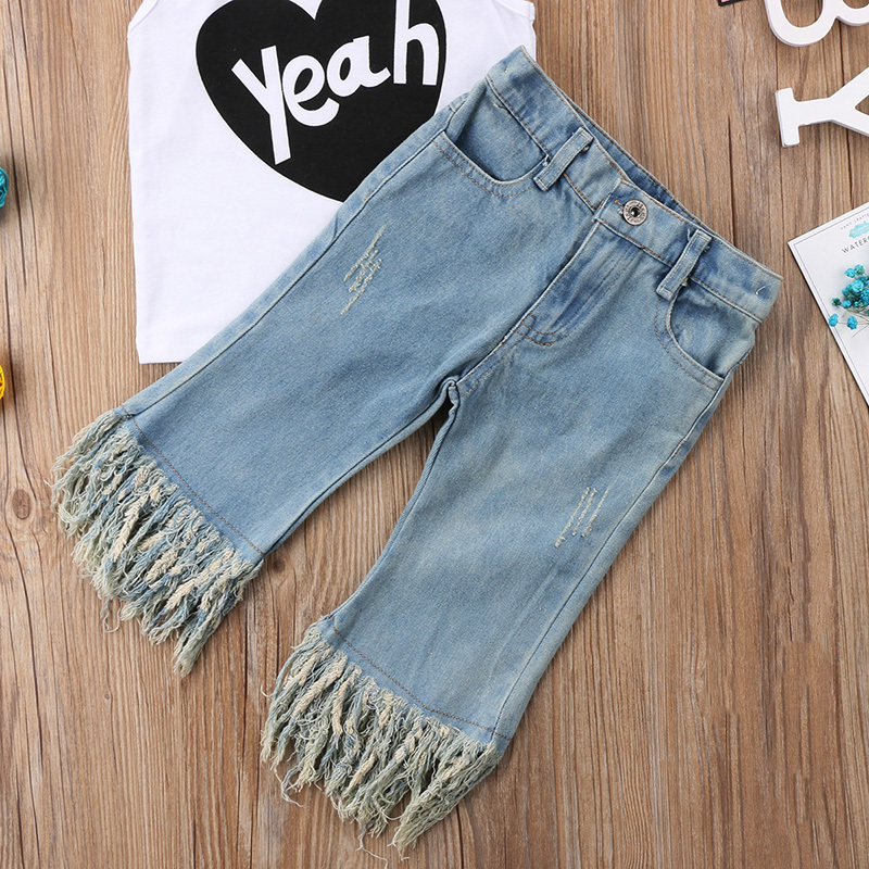 Pudcoco Fashion New Toddler Kids Girls Summer Outfit Sleeveless Heart Print Vest T-shirt Top+Tassel Jean Denim Pant Clothes Y1892706
