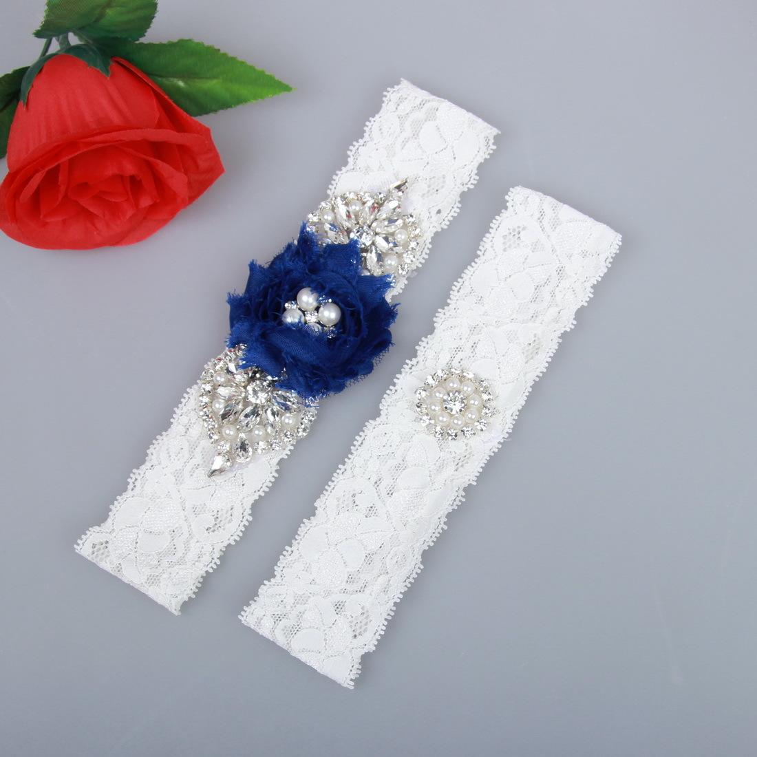 Satin-Strumpfband Braut schwarz royal-blau mit Schleifen Rose Hochzeit NEU EU