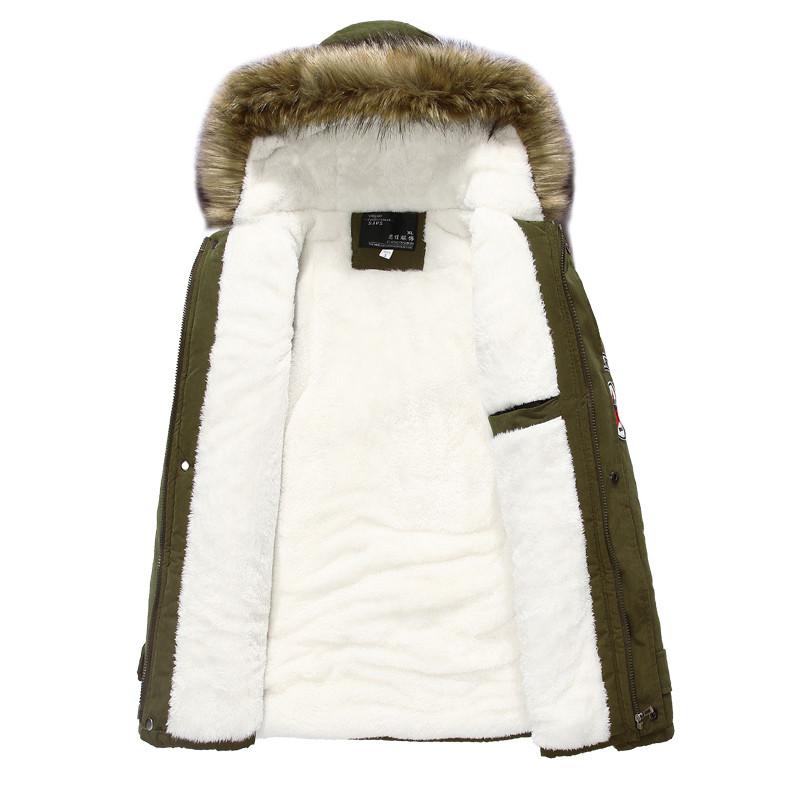 2018 Spring Faux Fur Collar Mens Cotton Parkas Army Military Warm Fleece Male Winter Coat 3XL 4XL Plus Size Jackets Parka Homme