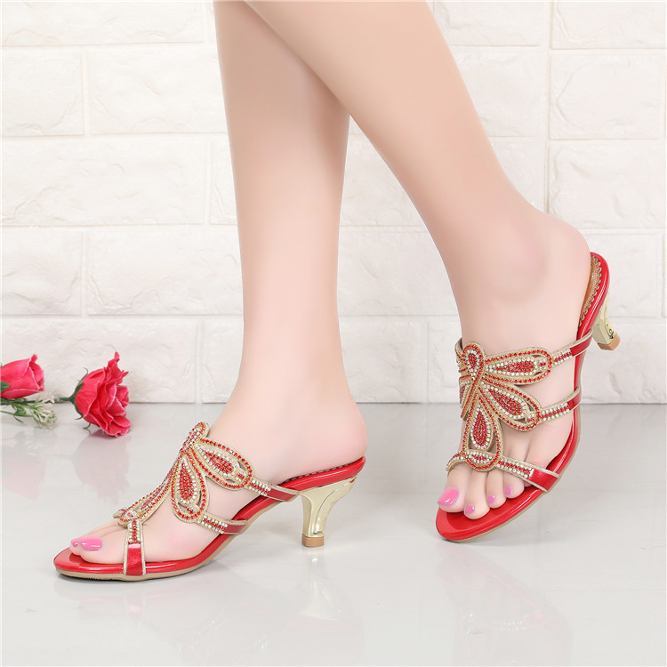 New Luxury Diamond Stiletto High Heels Slippers Online Shopping Peep Toe Womens Shoes Sale High Quality Gold Purple Black Red5