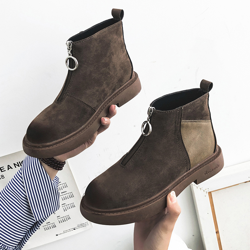 Fashion High Quality Women Comfortable Chunky Heels Front Zipper Ankle Boots Round Toe Shoes Autumn Winter Plus Size 35-39