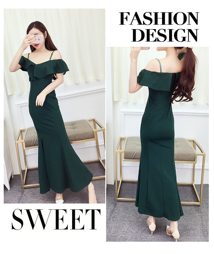2018 Summer New Atmosphere Noble Elegance Sexy Splitting Fork Shoulder Long Skirt Host Dress Party Dinner Dress Formal Wear A0046