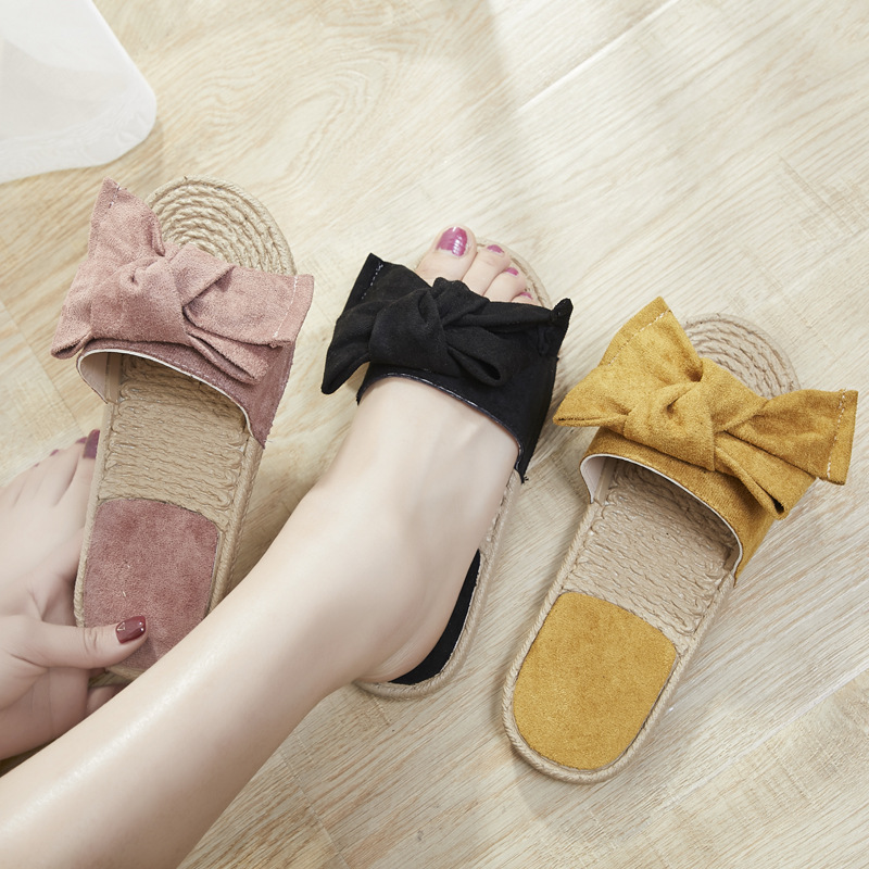 Cool Slippers, Women Wear Summer Fashion, New Flat Bottomed Dots, Bow Tie, Lattice, Leisure, Antique Sandals Wholesale.shoes