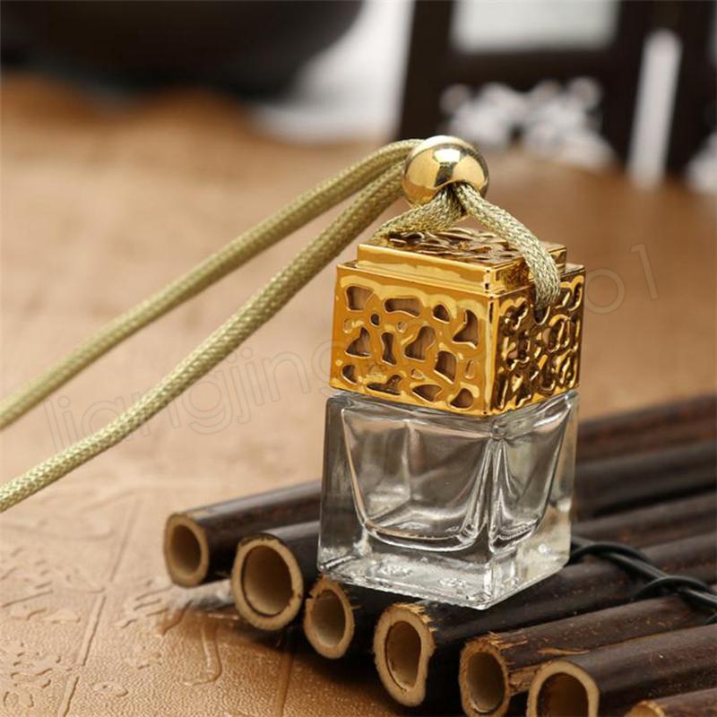 Würfelparfümflasche Auto-hängendes Parfüm Rearview Ornament Lufterfrischer für ätherische Öle Diffusor Duft leere Glasflasche
