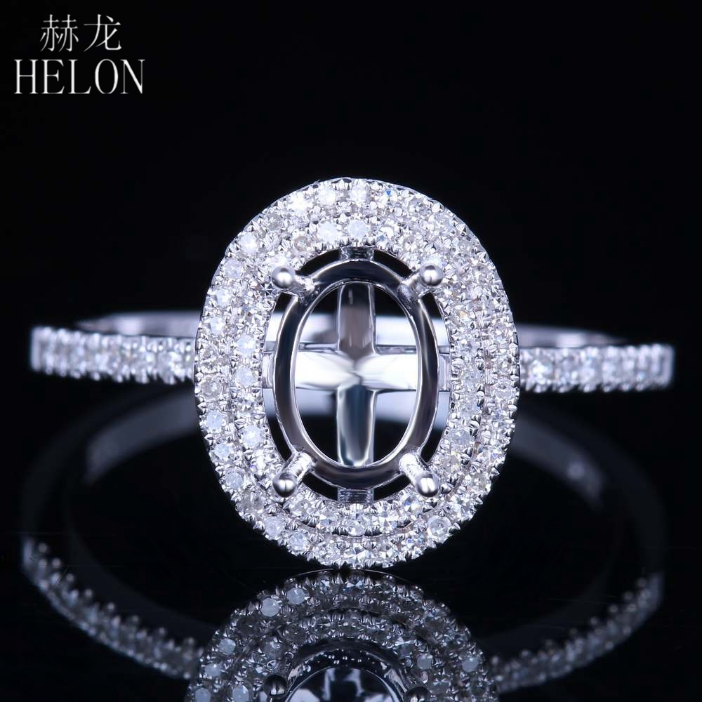 HELON Solid 14K White Gold Flawless Oval Cut 7x5mm Semi Mount Anniversary Fine Ring Pave Natural Diamond Engagement Wedding Ring
