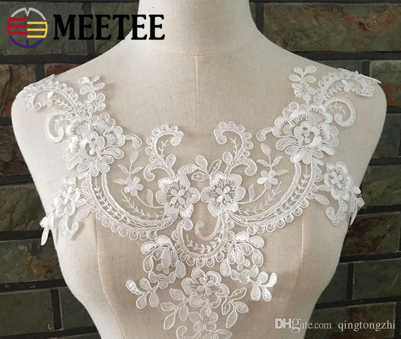 5× Lace Applique DIY Wedding Dress Headwear Patch Floral Embroidered Trim Motif