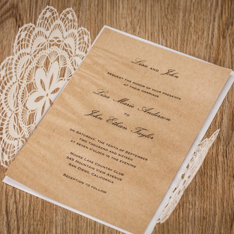 Rustic Lace Wedding Invitation,