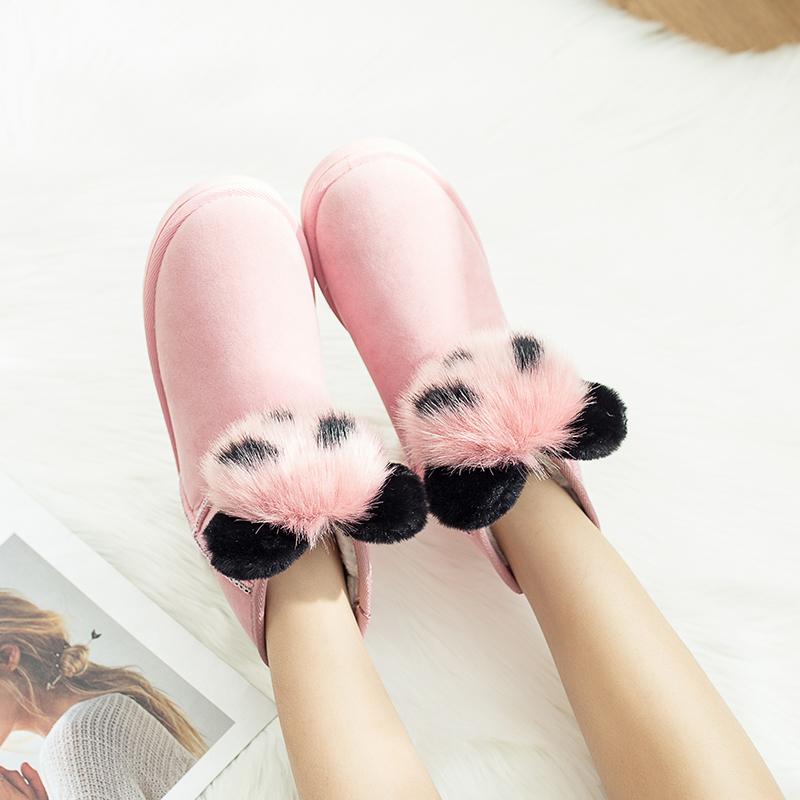 2019 Bottes pour femmes d'hiver femmes oreilles de lapin belles bottes imperméables et velours avec des chaussures en coton épais et chaud