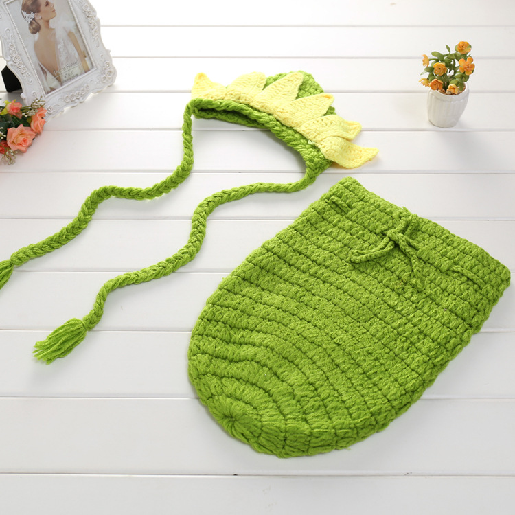 Baby Photography Props Newborn Photography Wraps Handmade Crochet Knitted Sleeping Bag Wool Photo Props Toddler Sleeping Bag