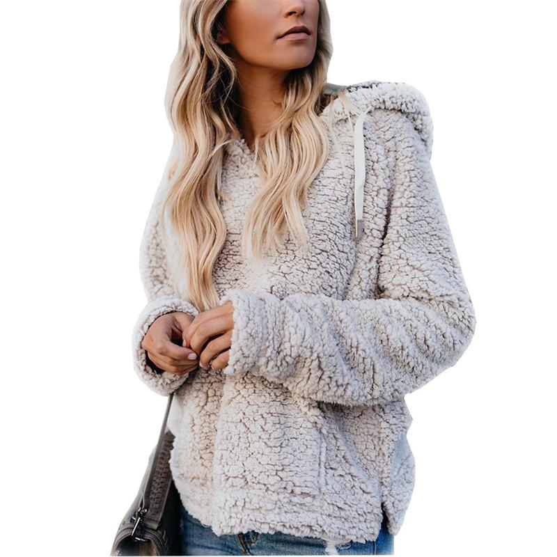 Las mujeres Sherpa suéter con capucha Fleece Pullover Cashmere Causal Sudaderas Outwear Sudadera con capucha Otoño Invierno Mantener caliente abrigo Streetwear CALIENTE