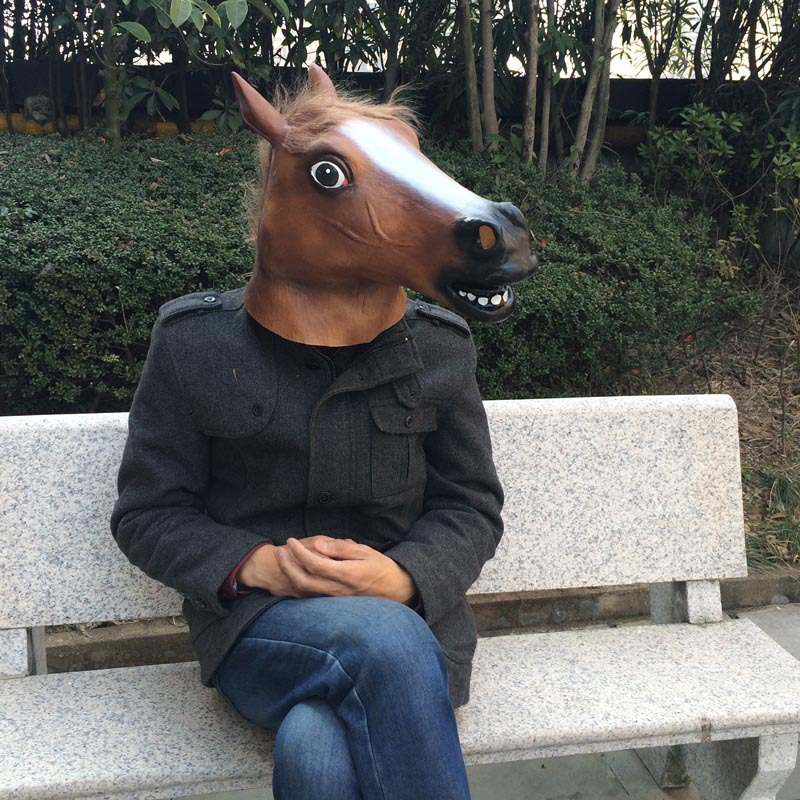 Halloween Realistic Latex Masks Horse Head Scary Mask Animal Costume Toys Funny Theater Prank Crazy Party Decoration Props
