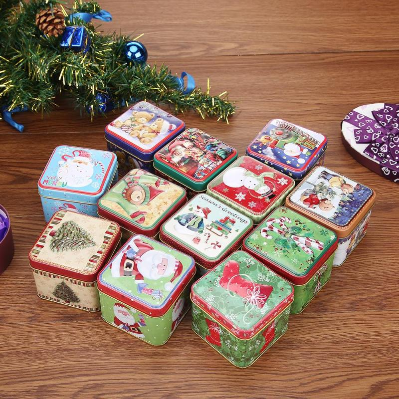 Mini Christmas Tin Candy Box Jar Cookies Candies Storage Box Christmas Gift Packing Case Party Festival Supplies Decor Corporate Gift Wrapping