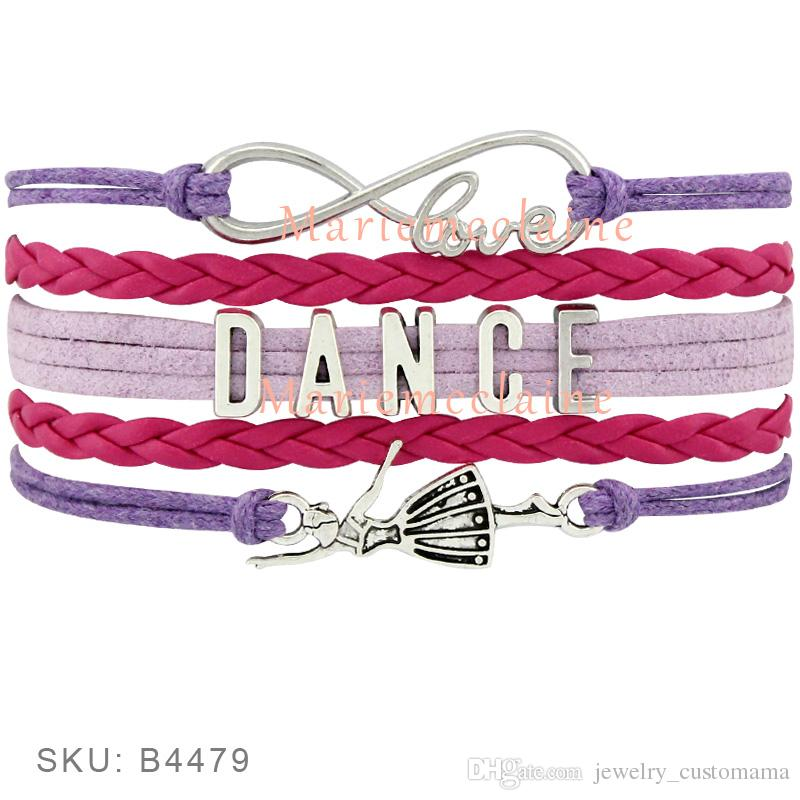 Custom-Infinity Love Dance Wrap Bracelet Gift for Dancer Dancing Bracelet Blue Pink Red Purple Leather Suede Custom any Themes