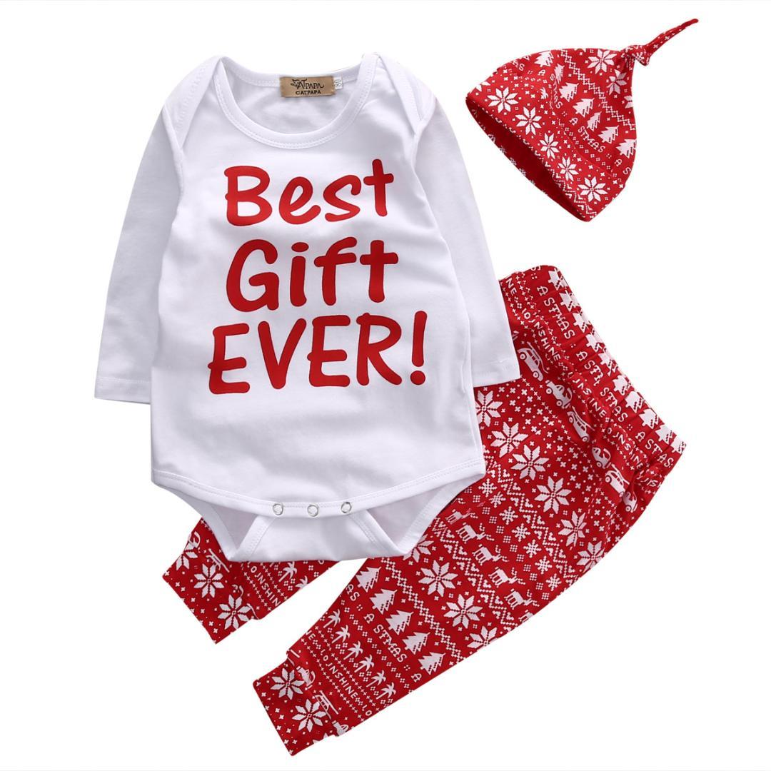3PCS Newborn Baby Kid Boy Girl Christmas Clothes Tops Pants Hat Outfit Set 0-24M