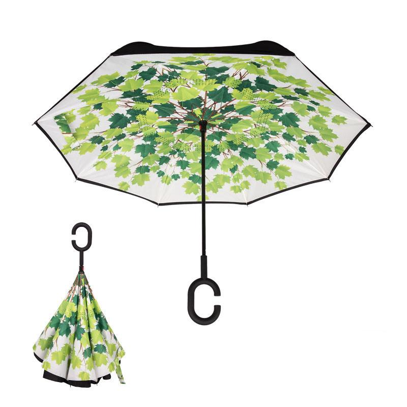 Reverse Umbrella Double Layer Reverse Folding Umbrellas Inverted C Hook Self Stand Inside-out Umbrella Windproof Sunny Rainy Sunshade 39Colo