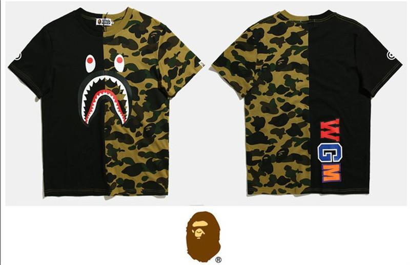 2018 New Listing New Fashion Summer Designer Men's Shirt Luxury T-shirt Brand Shark Mouth Pattern Men's Shirt