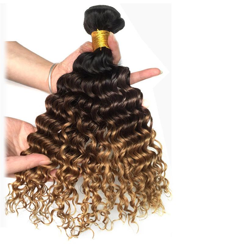 3 Tone 1B/4/27# Deep Curly Dark Brown Blonde Human Hair Weave Bundles Wholesale Colored Brazilian Ombre Human Hair Extension Deals