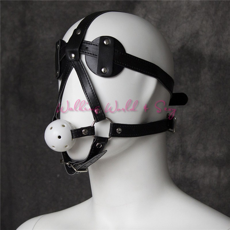 Adult Sex Mask With Blindfold Leather Harness Gag Bondage Mouth Ball Gag Fetish Slave Gag Sex Toys For Couples Flirting Cosplay (7)