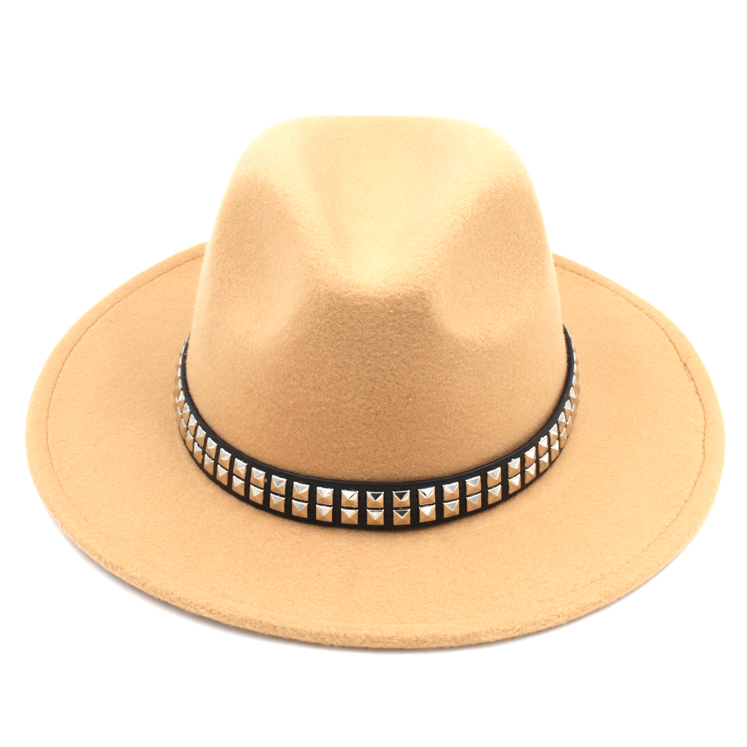 Fashon Unisex Wool Blend Panama Hat Jazz Hat Outdoor Wide Brim Sombrero Godfather Cap Derby Hat Leather Band with Paillette