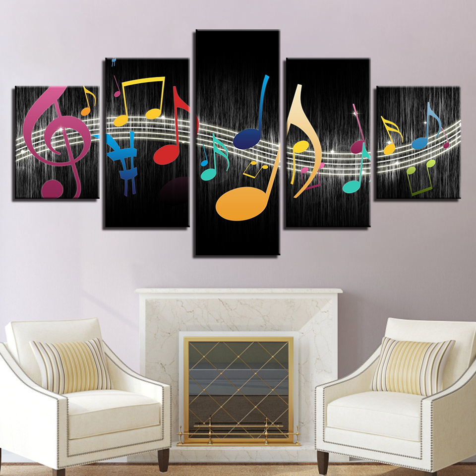 Modular Canvas Pictures Living Room Wall Art Home Decor Framework Color Music Notes Paintings Modern HD Prints Poster
