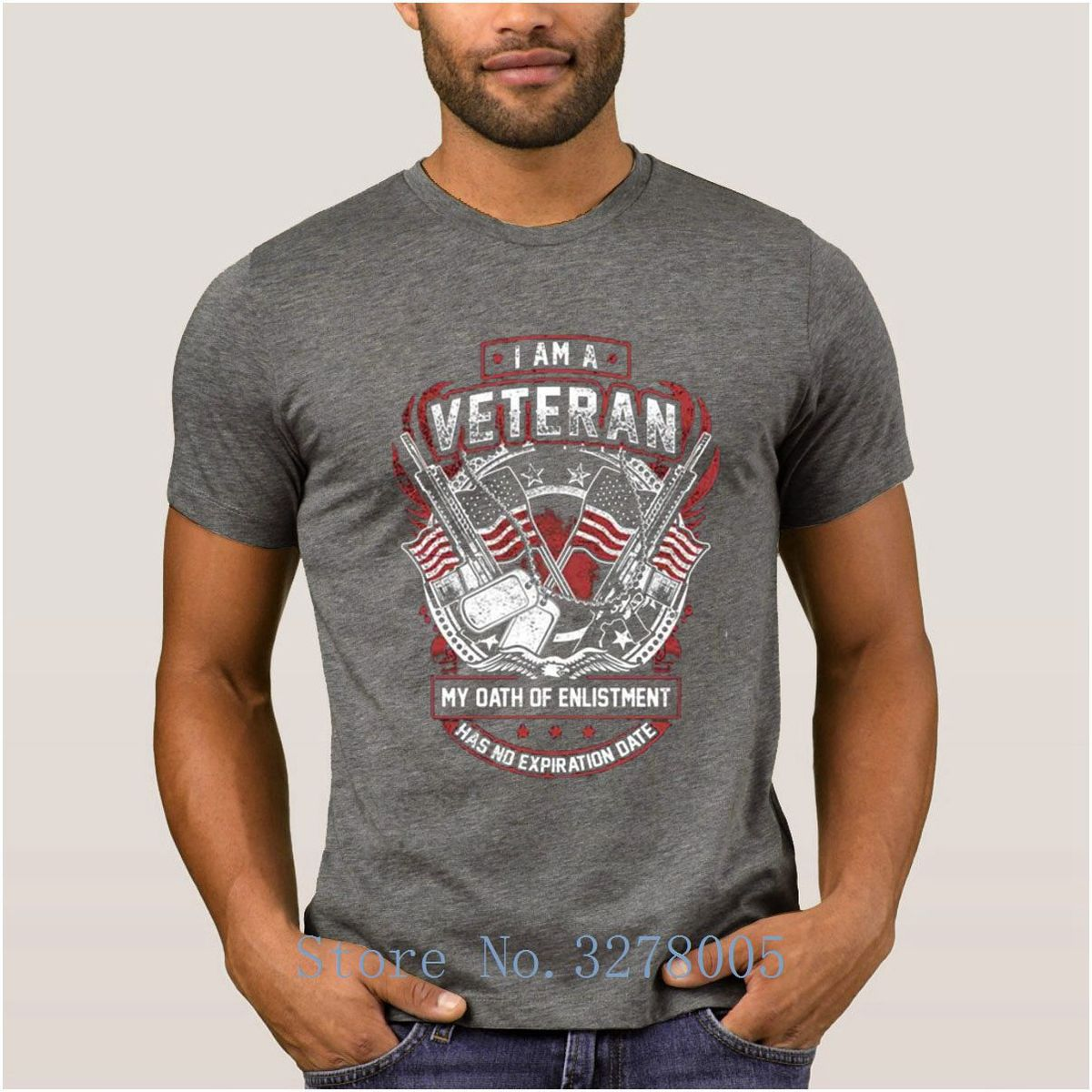 Create Own Solid Color Graphic I Am A Veteran Men's T Shirt Pictures Sunlight Men's T-Shirt Mens O Neck Tshirt High Quality