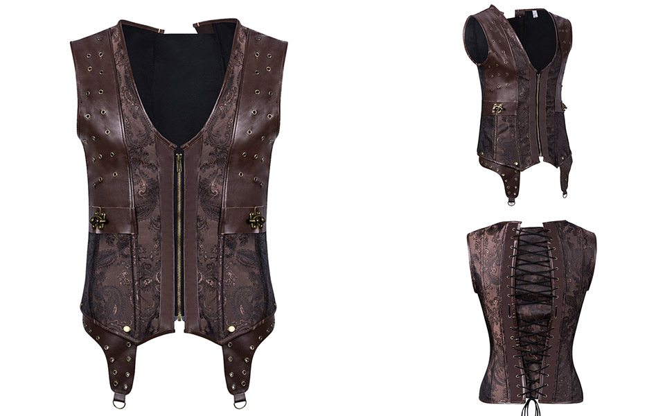 Mens Corset Steampunk Vest Shapers Brown Collar Sleeveless Steel Boned Gothic Corset Jacket Slimming Corsets For Men (10)