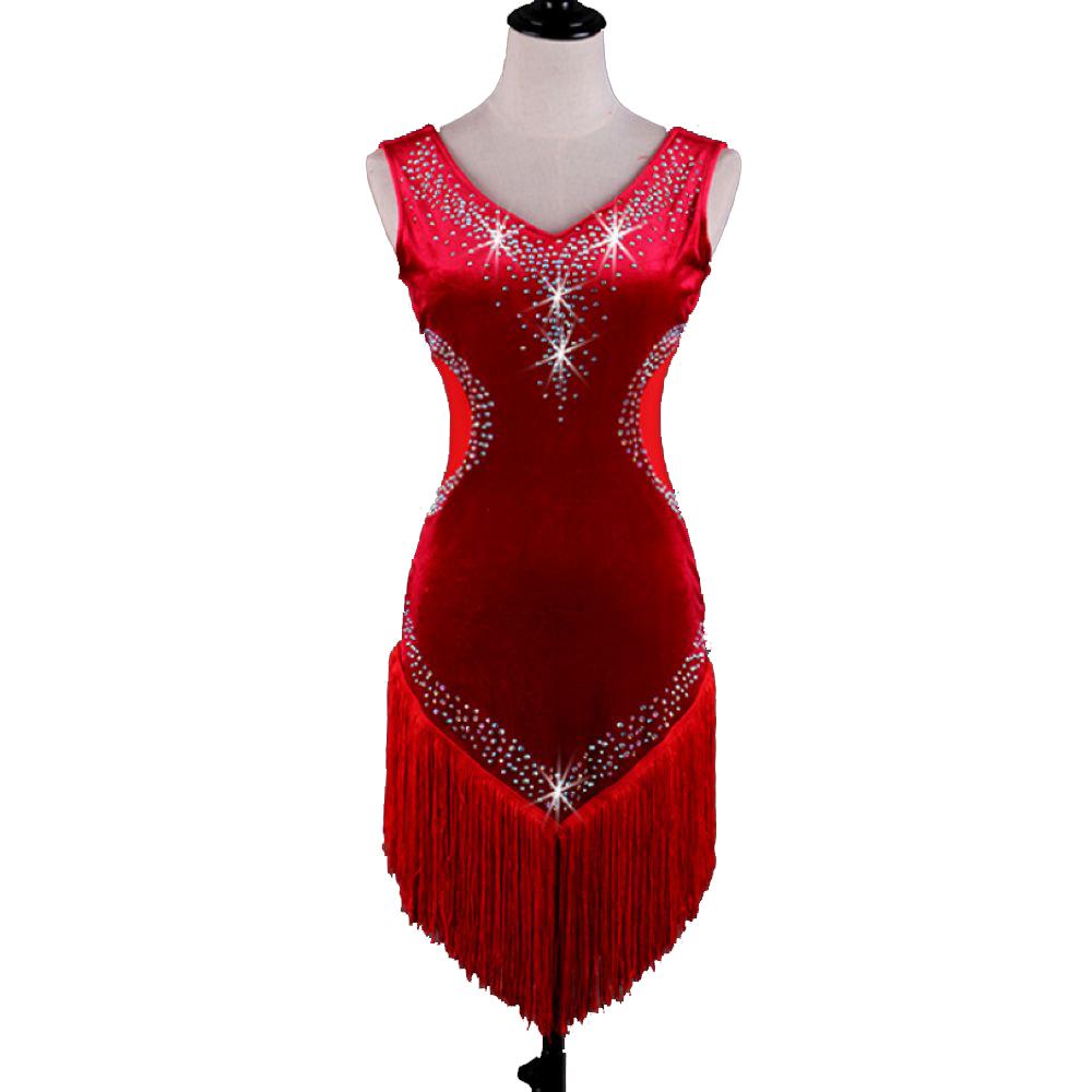 samt latin dance dress kostüme damen salsa tango d368 rot mit bh-cup  unterwäsche quasten strass