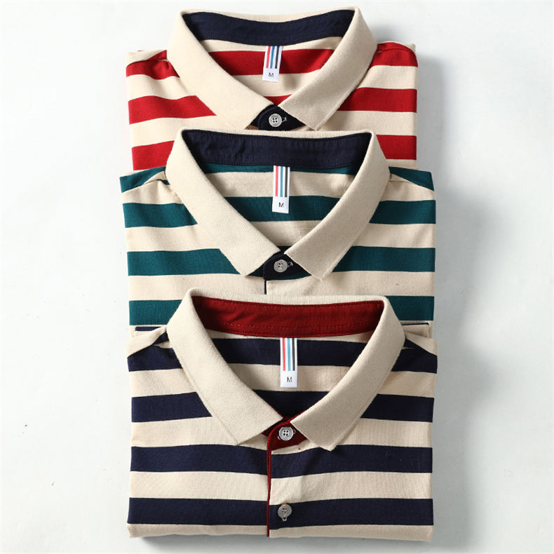 2018 Summer Mens Polo Shirt Classic Striped Cotton Short Male Polo Men Tees Breathable Quick Dry Plus Size 4XL Red Muls Brand-13