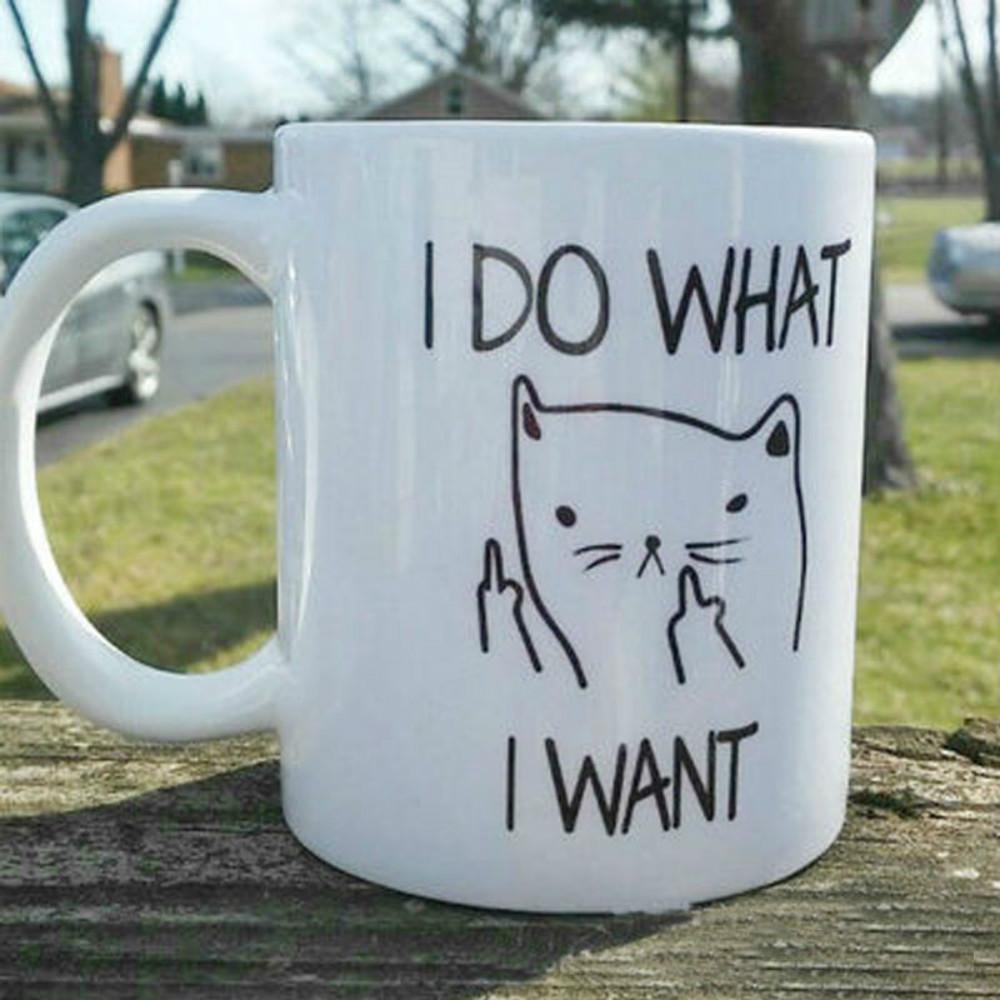 Creative I Do What I Want Ceramic Coffee Mug Funny Cat Middle Finger Mugs For Coffee Tea Milk Gifts