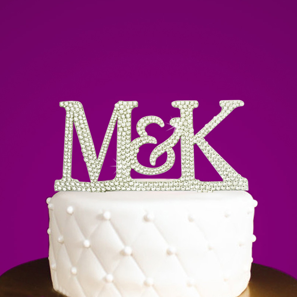 /& m strass strass Wedding cake topper pick décoration argent m