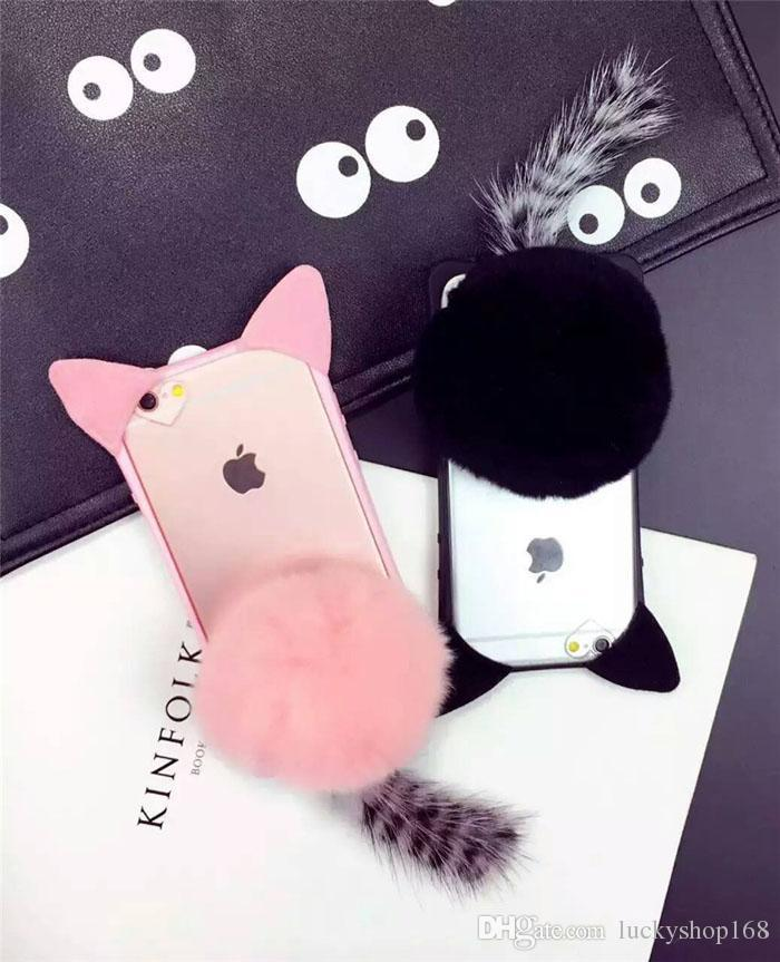 "New Cheap 3D Cartoon Cute Fur Ball koko cute Ear Cat Tail Silicon Soft Back Case Cover for iphone 6 6S iphone plus 5.5"" phone case DHL"