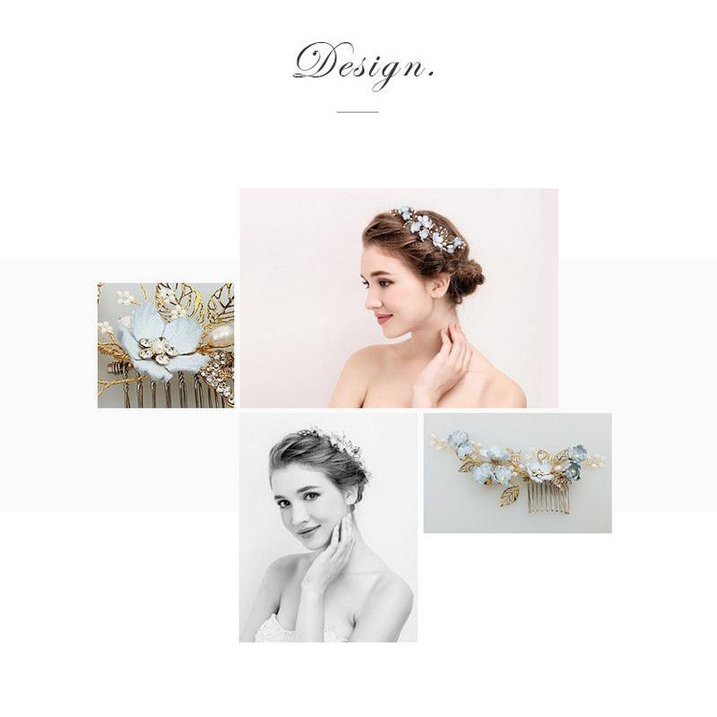 Blue Handmade Flower Wedding Hair Comb Bridal Hair Pin Rrhinestone Pearl Jewelry Hair Accessories for Girls Women Bridesmaid (5)