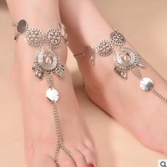 Bohemia Metal Rouind Anklets Fashion Foot Jewelry Chain Tassel Barefoot Sandals Beach Foot Jewelry Anklets Bracelet For Women Jewelry